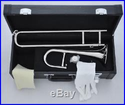 Top new Silver nickel Mini Trombone Bb Slide Trumpet Horn with Case