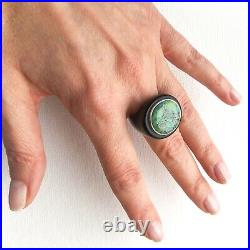 Tribal Buffalo Horn Ring with natural Uzbek Auminza Turquoise in Silver. Size 6
