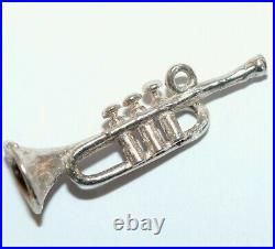 Trumpet Horn Sterling Silver Vintage Bracelet Charm With Gift Box 1.7g