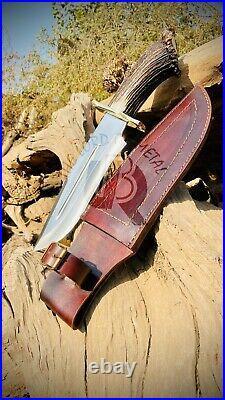 UBK Custom Handmade D2 Steel Hunting Knife with leather sheath stag horn handle