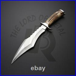 UBR Custom Handmade D2 Steel Hunting Knife with leather sheath stag horn handle