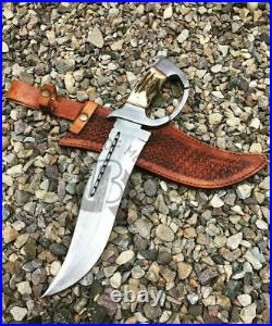 Ubr Custom Handmade D2 Tool Steel Hunting Bowie Knife With Stag Horn Handle