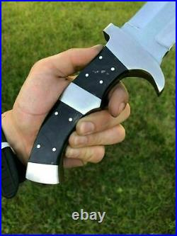 Ubr Custom Handmade D2-tool Steel Predator Hunting Bowie With Buffalo Horn