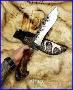 Ubr Custom Handmade High Carbon Steel Hunting Bowie With Stag Horn
