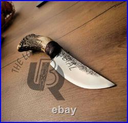 Ubr Custom Handmade High Carbon Steel Hunting Skinner Knife With Stag Horn