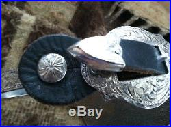 Used Ladies Fleming Sterling Silver Spurs and straps with Broken Horn Buckles