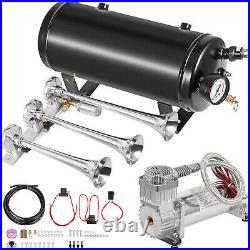 VEVOR Loud 152 DB Train Horn Kit3Trumpet with 5 Gal Tank/200PSI Air Compressor