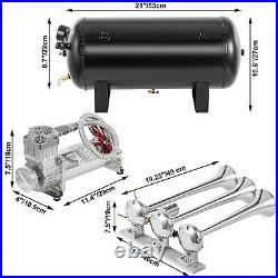 VEVOR Super Loud Train Air Horn Kit3Trumpet with Dual 200 PSI Air Compressors