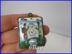 VINTAGE RUSSIAN SILVER with ENAMEL FIGURAL MEN PLAYING HORNS PENDANT