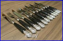 VINTAGE Steak knives and forks Genuine horn handles with silver plated finials