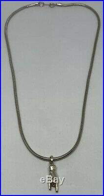 VTG 16 Snake Chain With Signs Of The Horns Rock On Charm 925 Sterling Silver