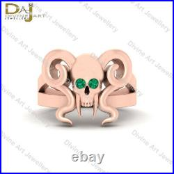 Vampire Skull Engagement Ring 925 Sterling Silver Skull Ring With Horn and Teeth