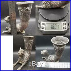 Very Rare Silver Rhyton With Horned Lion Head Achaemenid Era