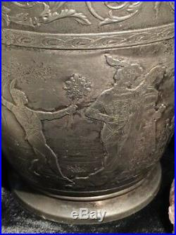 Victorian Fantasy Pitcher with Horned Devil Satyr Gargoyle Faces Pipers Dancers