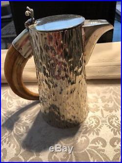 Victorian Hukin & Heath Silver Plated Bark Lidded Jug With Horn Handle