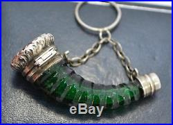 Victorian SOLID SILVER & Green Glass HUNTING HORN Shaped SCENT BOTTLE with Loop