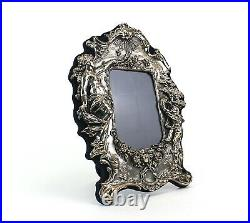 Victorian Style Sterling Silver Picture Frame with Woman and Cherub Playing Horn