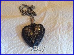 Victorian heart jet or horn and silver with inlaid mother of pearl 15.5g