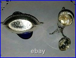 Viking Salt with Cobalt Blue Liner & Viking Horn Pepperette Sterling 925 Silver