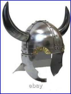 Viking Warrior Helmet with Real Horns Medieval Costume Metallic
