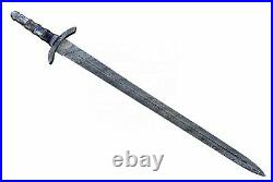 Vikings Sword Handmade Swords Hand Forged Damascus Steel with Leather Scabbard