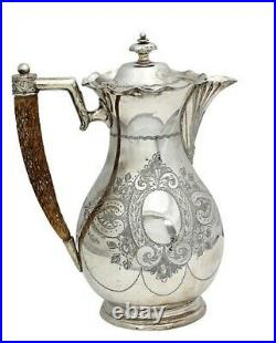 Vintage Antique English Victorian Silver plate Wine Ewer with Horn Handle