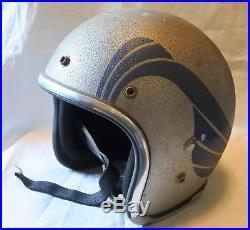 Vintage Arthur Fulmer AF40 Helmet / Silver With Blue Horns AS IS PLEASE READ