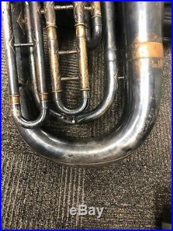 Vintage Brass Horn P. Frederick Maker Silver Plated Used with Gig Bag