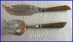 Vintage Fish Servers With Horn Handles