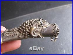 Vintage Horn & Sterling Silver Cane Head With Pill Compartment