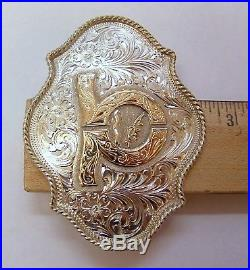 Vintage Ornate Sterling Silver Belt Buckle By Broken Horn With Gold Accent