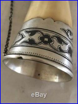 Vintage RUSSIAN 875 Niello Silver Drinking Wine Horn with Bird Head