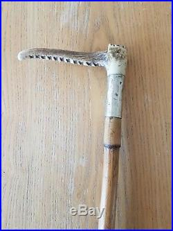 Vintage Riding / Hunting Crop / Whip With Antler Horn Handle And Silver Band