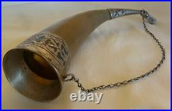 Vintage Russian Drinking Horn Combined With 875 Niello Silver & Duck Head