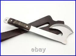 Vintage Stunning Handmade D2 Tool Art Rare Hunting Axe With Tomahawk Ram Horn