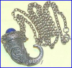 Vintage Stunning Silver Tone Blue Lucite Necklace With Open Horn Pendant