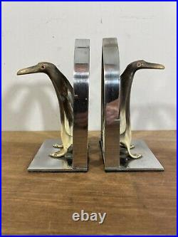 Vintage Unique Chrome Bookends With Carved Horn Penguins