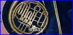 Vintage elkhorn by getzen french horn with case silver tone unit 1