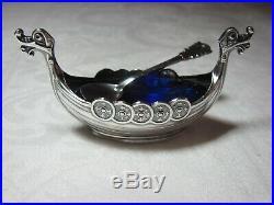 Vntg. Viking ship salt cellar with spoon & Horn for pepper, Sterling Silver
