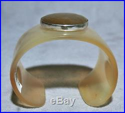 Water Buffalo Horn with Faceted Golden Sunstone And Sterling Silver Cuff Bracele