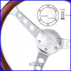 Wooden Grain Silver Brushed Spoke Steering Wheel 15 38cm Classic Wood Horn Kit