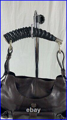 YSL Yves Saint Laurent Chevre Mala with Horn Brown Leather Satchel Bag